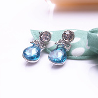 Gold small accessories Women drop crystal stud earring