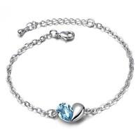 Accessories popular brief heart crystal female bracelet