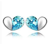 Fashion personality austria crystal accessories heart stud earring flower drop earring female