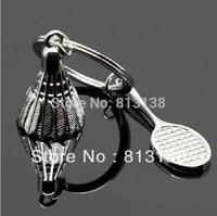 Wholesale 5 pcs/ lot Full metal badminton & badminton racket keyring  key chain