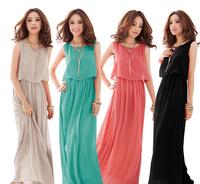 Fashion Women's Chiffon Dress 2014 New Arrival Solid Color Women's Bohemia Long Beach Dress
