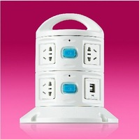 Dimensional tower power socket outlet power strip with USB Universal charging connection / patch panel