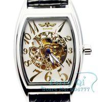 Winner New 2014   New  Skeleton Mechanical Watch Tonneau Men Women Stainless Steel Wristwatch Free Ship