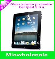 HD clear crystal GLOSSY LCD screen protector guard  film cover shield For ipad 2/3/4 ipad2 ipad3 ipad4 no retail pcakage