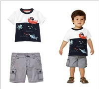 2014 free shipping Retail 1 set Top Quality kid clothing suits summer boy cartoon pattern t-shirt+pants 2pcs suits fit 2-6yrs