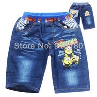6pcs/lot baby Cartoon Minions summer boys girls denim shorts kids children fashion jeans
