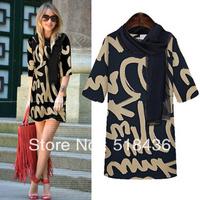 2014 spring fashion Women's Brand Design Casual Dress For Lady retro slim sweater casual dress