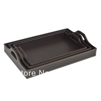 High quality Leather fruit bowl fruit plate rectangular  solid wood leather pallet document tray