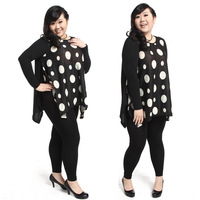 Free shipping 2014a new spring model plus size dot  Women's T-shirt  The modal  Long sleeve dress