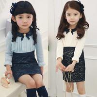 (CZ0367)2014  peter pan collar girls clothing baby child long-sleeve dress baby girls dresses kids Princess Dress lace