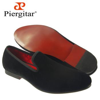 Hot Selling Men Flats Black Plain Velvet Slippers Size 6-13