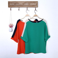 2014 New Design Spring Season Patchwork Women Chiffon Tees