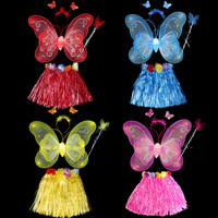 new arrival 2014 performance costume Christmas performance wear female child dance butterfly wings skirt piece set