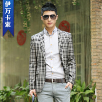 2014 new fashion MEN'S plaid suit autumn slim blazer men grey plaid outerwear one button long sleeve hot quality plus size