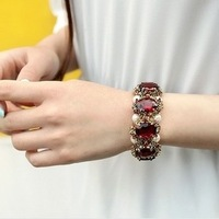 Free Shipping, Color stone inlaid pearl bracelet, Wholesale Crystal Gold Plated Stretch Bangle Bracelet Fashion Bracelet