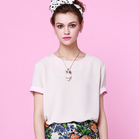 Women's summer 2013 t-shirt female short-sleeve chiffon o-neck ol shirt top
