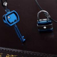 Korean jewelry lovers titanium steel lock and key diamond pendant