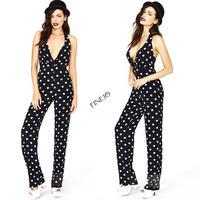 New 2014 Women Black And White Polka Dots Jumpsuit Sleeveless Backless Halter-Neck Fashion Sexy Slim Pants plus sizes 19785