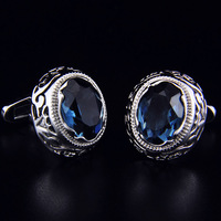 SPARTA Duke Plated with platinum dark blue AAA zircon cufflinks men's Cuff Links + Free Shipping !!! High quality metal buttons