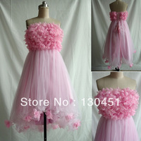 a-line flower bra strapless high low prom dresses 2014 pleated empire short front long back evening dress