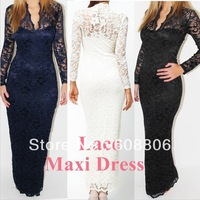 Fashion Ladies' Sexy V-Neck Slim Neck Lace Women Maxi Dress Long Sleeve Wedding Evening White Black Blue