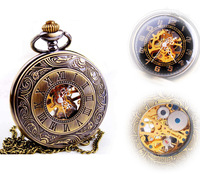 Hot Sale Steampunk Skeleton Mechanical Pocket Watch For Women Men Fashion Mechanical Clock Watch Roman Numeral Dial