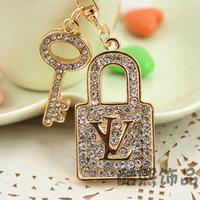 Accessories diamond lovers lock male women's car keychain bag buckle