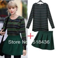 free shipping new 2014 fashion women's winter long-sleeve sweater dress set woolen sweater women's casual set