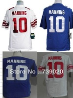 Free Shipping 2013 #10 Eli Manning American Football Jerseys Embroidery and Sewing logos accept mix order