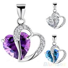 2014 New Hot Sale Women's Fashion Sterling Purple Blue Rhinestone Lucky Heart Pendant(China (Mainland))
