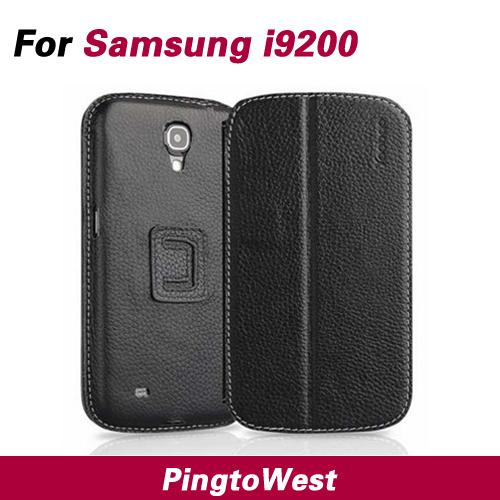 Galaxy Mega 6.3 leather case for Samsung I9200 luxury flip case for samsung I9200 / i9208 / i9205 + wake up function + stent(China (Mainland))