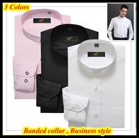 Top brand 38-44 Slim fit hombres de camisa long sleeve banded collar dress shirt for men QR-1345