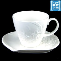Embossed orchid coffee  unique coffee  set  dish white coffee   coffee