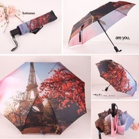 Free Shipping Paris Oil Painting Umbrella Big 3 Folding Exquisite Classic Umbrella Anti-uv Sun/Rain Durable Automatic Umbrella