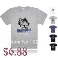 New 2014 men's designer brand fashion short-sleeve t shirts sports T-shirt L-XXXXL large size Printed Wolf Head Free shipping