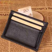 Brand Fashion Genuine Leather Black Men and Women Slim Credit ID Card Holder Carteira Cartoes De Credito Small Cardholder MT-12