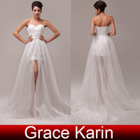 Free Shipping 2014 Grace Karin Strapless Removable Skirt Sexy Bride Ball Prom Party Bridal Gown Bridmaid Wedding Dress CL6031