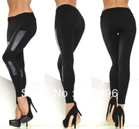 CPAM Free Shipping Fashion Hot  Women New Legging Pants Stitching Stretchy Faux Leather Skinny Leggings