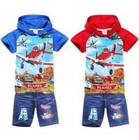 Baby Clothes Cartoon Planes Conjuntos Children Hooded T shirt + Kids Pants Denim Shorts Sports Suit Kids Baby Boy Clothing Set