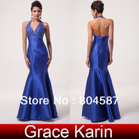 Free shipping! GK Sexy Halter Mermaid Wedding Dresses Royal Blue Satin Evening Dress Backless Cocktail Party Ball Gown CL6024