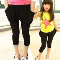 2014 new spring and summer children clothing casual harem thin cotton girls pants 4T-14