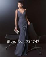 Exquisite Elegant Upscale Sheath Evening Dress Long Formal Gown Floor Length V-Neck Beaded Sash Zipper Back Sleeveless Pleat