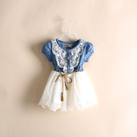 girl dress  New  2014 Girls Cotton  Cowboy  Lace  Flower  Gauze  Belt  Party  Dresses  5pcs/lot   kid apparel