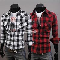 New Men's Casual Plaid Slim Fit Stylish Men's T-Shirts Tee Tops 2 Colors 10026