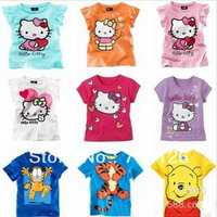 Free Shipping  wholesale New 2014 Summer Children T- shirts Kids Clothes Short Sleeve Hello Kitty Girls Tops 5pcs/lot