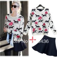 Fashion car 2014 spring tiger loose sweater high waist short skirt set women's