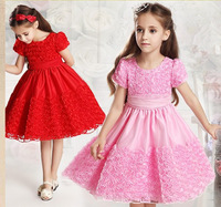 1 set free shipping! Retail girl's dress.High quality girl pure color dress. Princess the skirt of summer. Lace the girl's dress