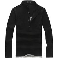 M- 5xl Plus size men T shirt long sleeve stand collar casual fashion men's cotton t-shirts white black tees tops black white