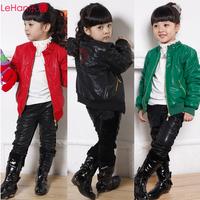 Children's female  winter  PU leather jacket thickening