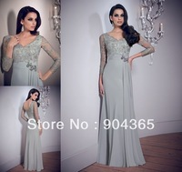 Free Shipping 2014 New Design Sexy V Neckline Long Sleeves Chiffon Beaded Appliques Formal Mermaid Prom Evening Dresses